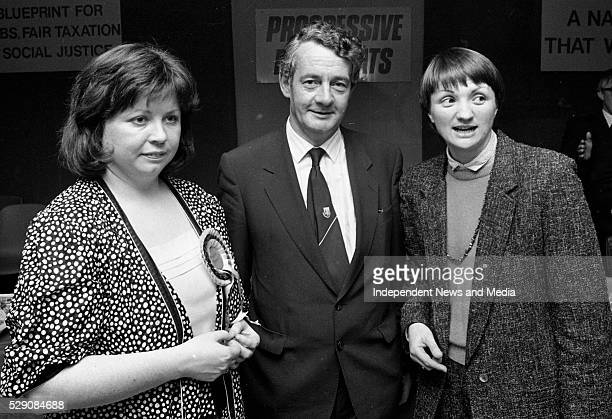 Progressive Democrat Party Leader Dessie O'Malley TD with two candidates on the General Election Mary Harney TD for Dublin South West and Ann Colley...