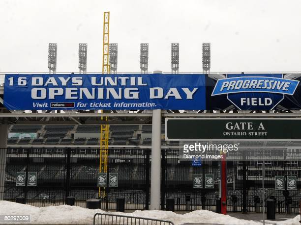 Progressive Field signage counts down the days until opening day on Saturday, March 15, 2008 in Cleveland, Ohio. Progressive Field signage08-1208768