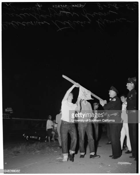 Progressive Party meeting in Culver City at which Young Korean War Veterans protest communist influence and attendance 28 August 1952 Vincent...