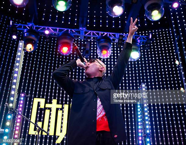 Prohgress of Far East Movement performs at Universal CityWalk's music spotlight concert series at Universal CityWalk 5 Towers on August 28 2014 in...
