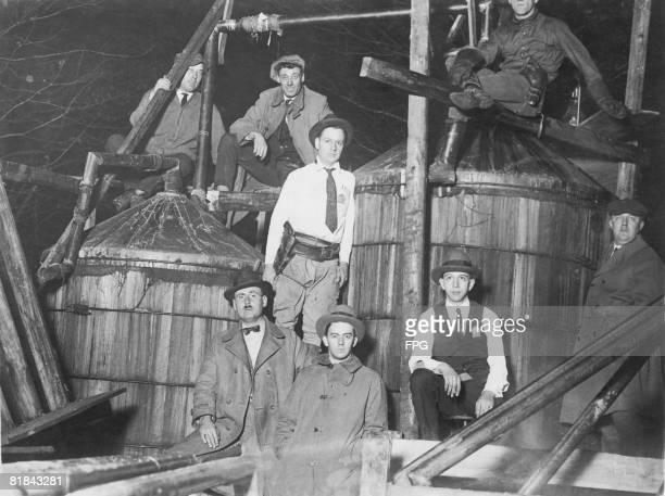Prohibition agents with a 2000gallon illicit still seized near Waldorf Maryland circa 1925