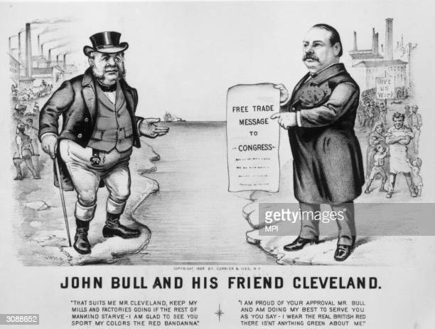 A prohightariff cartoon shows US president Grover Cleveland introducing lower tariffs in support of the British Many Americans favoured higher...