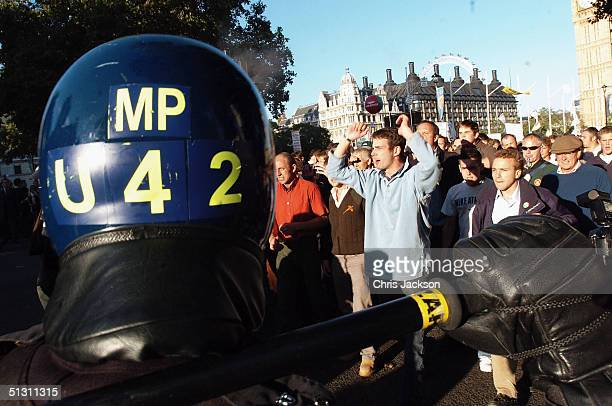 pro-hunting groups protest in westminster against hunting ban - truncheon stock pictures, royalty-free photos & images