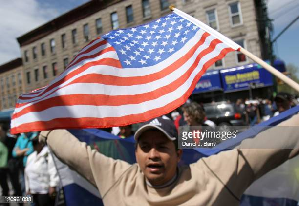 ProImmigration demonstrators gather during a rally as part of the Day Without Immigrants national protest on May 1 2006 in the Brooklyn New York...
