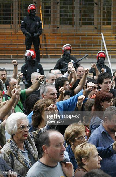 Pro-independence banned Basque party Batasuna supporters demonstrate 06 October 2007, in the northern Spanish Basque city of Bilbao, in support of 23...