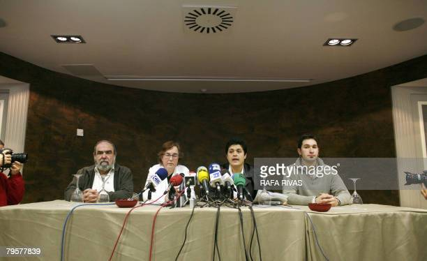 Proindependence Basque Nationalist ActionANV president Kepa Bereziartua and representatives Galder Olibares Marian Beitialarrangoitia and Arantza...