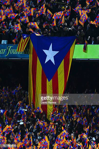 A proindependence Catalan flag is displayed on the stands during the Copa del Rey Semi Final second leg between FC Barcelona and Real Madrid at Camp...