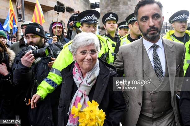 Pro-independence Catalan politician, Clara Ponsati, who is being sought by the Spanish government walks from the Sheriff court with lawyer Aamer...
