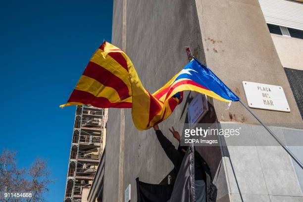 A proindependence flag appears in the wind while replaced the name of the street Juan de Borbón by Paseo de la Republica Hundreds of people organized...
