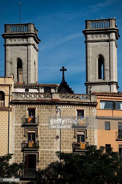 Pro-independence flags are seen on balconies on September 24, 2015 in Girona, Spain. Over 5 million Catalans will be voting in Parliamentary...
