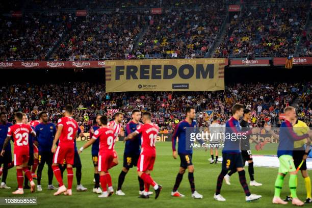 A proindependence of Catalonia banner is displayed during the La Liga match between FC Barcelona and Girona FC at Camp Nou on September 23 2018 in...