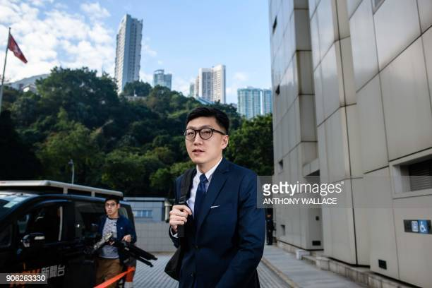 Proindependence protestor Edward Leung arrives at the High Court before facing rioting charges in Hong Kong on January 18 for his part in the...
