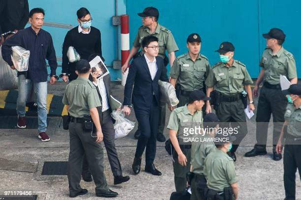 Proindependence protestor Edward Leung leaves the Lai Chi Kok Reception Centre for the High Court for sentencing on rioting and assaulting a police...