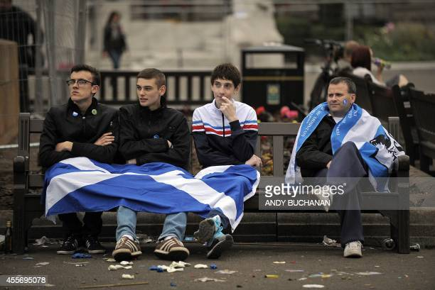 Proindependence supporters are pictured in George Square in Glasgow Scotland on September 19 following a defeat in the referendum on Scottish...