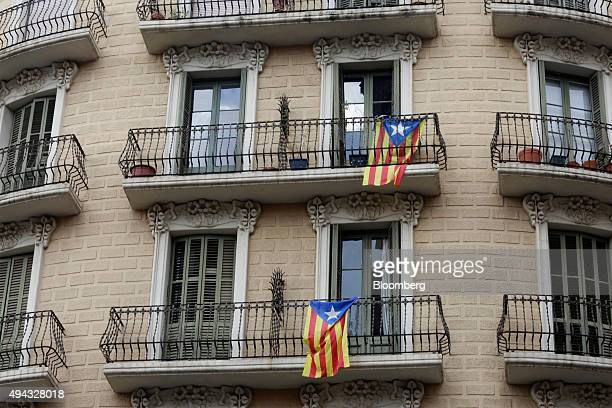Proindependent Catalonia flags hang from the balconies of residential homes in Barcelona Spain on Monday Oct 26 2015 Spanish Prime Minister Mariano...