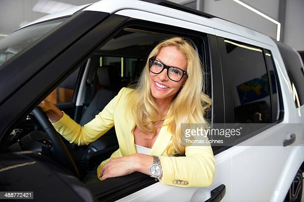 Project ambassador Sonya Kraus poses in a Landrover on May 8, 2014 in Frankfurt am Main, Germany. German charity 'Childaid Network' and Land Rover...