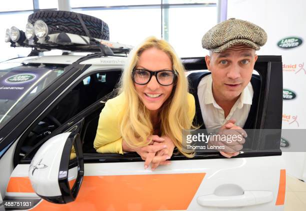 Project ambassadors Sonya Kraus and Ralf Bauer pose on May 8, 2014 in Frankfurt am Main, Germany. German charity 'Childaid Network' and Land Rover...