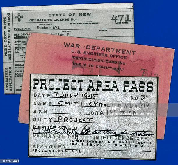 Project Area Pass for the Alamogordo Test Site New Mexico 1945 Project Area Pass for the Alamogordo Test Site New Mexico to Cyril [Stanley] Smith...