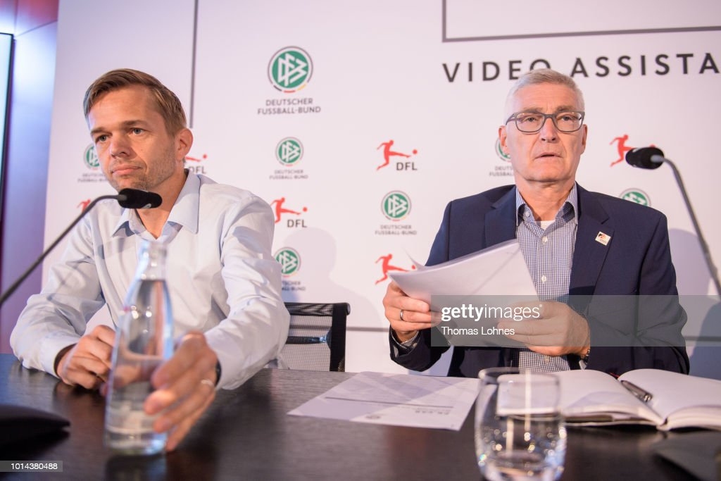 Project director 'Video Assitant Referee' Jochen Drees (L) and DFB referee manager Lutz Michael Froehlich (R) pictured during a press conference of Deutscher Fussball-Bund (DFB) on August 10, 2018 in Frankfurt am Main, Germany.
