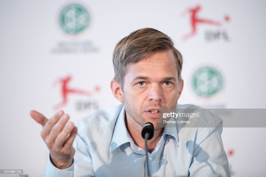 Project director 'Video Assitant Referee' Jochen Drees speaks to the media during a press conference of Deutscher Fussball-Bund (DFB) on August 10, 2018 in Frankfurt am Main, Germany.