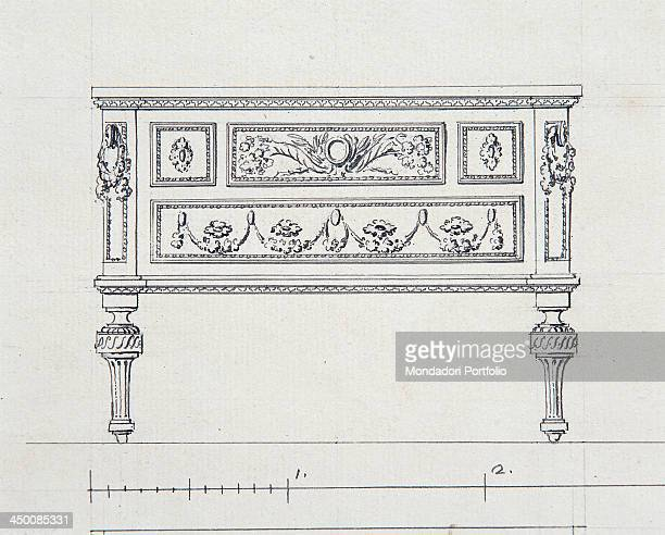 Project for the table in the apartment of the Duke of Aosta in Venaria Reale by Carlo Rondoni 18th Century drawing