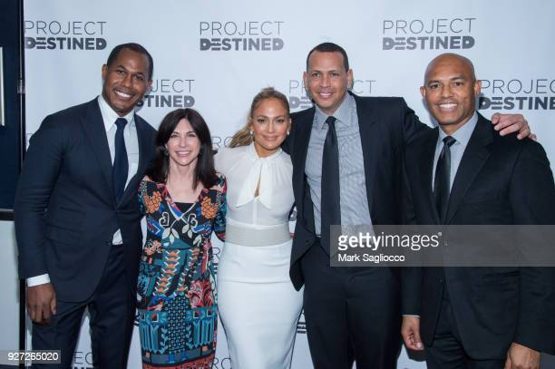 Project founder Cedric Bobo Guest Jennifer Lopez Alex Rodriguez and Mariano Rivera attend 'Project Destined' Yankees Shark Tank Presentations at...