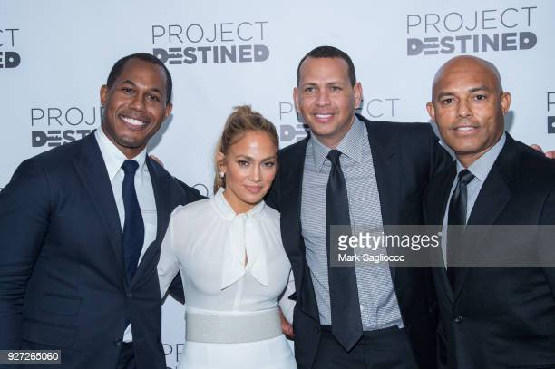 Project founder Cedric Bobo Jennifer Lopez Alex Rodriguez and Mariano Rivera attend 'Project Destined' Yankees Shark Tank Presentations at Yankee...