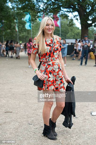Project manager Emily corr wears an ASOS top and skirt Primark bag Topshop jacket and Peacocks Boots at Lovebox 2015 on July 17 2015 in London England