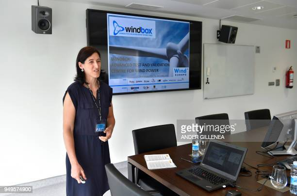 Project Manager of Basque Energy Cluster Begona Molinete speaks during a meeting with journalists to show Windbox project in the Spanish Basque city...