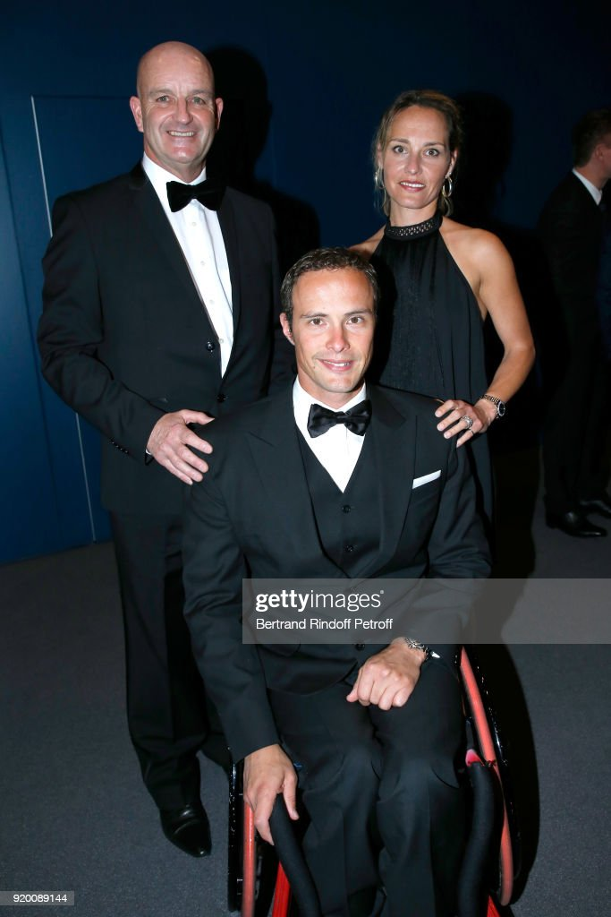 Project Manager, responsible for the Swiss French-speaking team at 'Just for Smiles' Foundation, Terence Wilsher, Swiss Athlete the most medalist at the Paralympic Games, Marcel Hug and Katharina Mazure attend the 'Snow Night - La Nuit des Neiges' Charity Gala on February 17, 2018 in Crans-Montana, Switzerland.