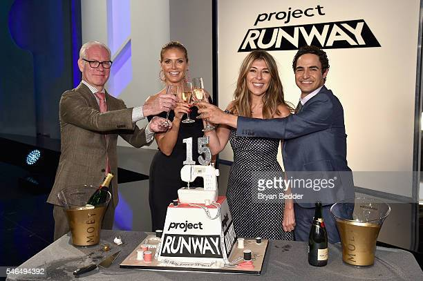 Project Runway hosts Tim Gunn Heidi Klum Nina Garcia and Zac Posen attend the Project Runway Season 15 CakeCutting Celebration on July 12 2016 in New...