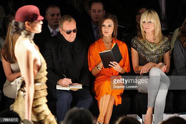 Project Runway judge Nina Garcia designer Michael Kors singer Victoria Beckham and model/host Heidi Klum attend the Project Runway Season 4 Fall 2008...