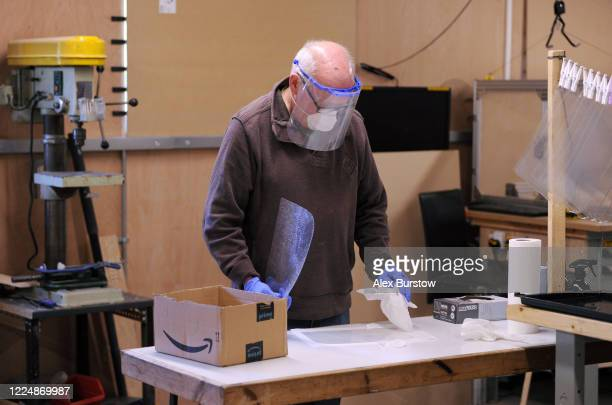 'Project Shield' volunteer Gary C helps to produce fullface visors in the Church Crookham and Fleet Men's Shed on May 06 2020 in Church Crookham...