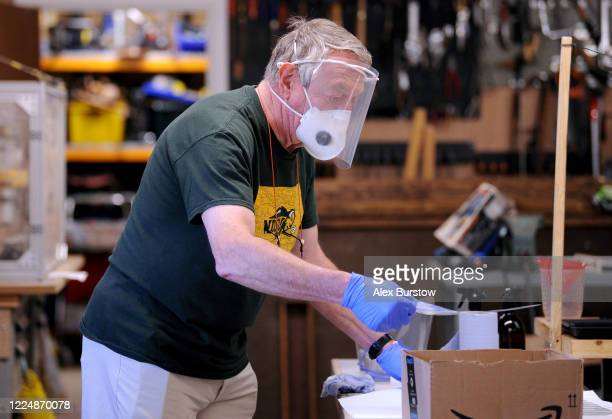 'Project Shield' volunteer Gary G helps to produce fullface visors in the Church Crookham and Fleet Men's Shed on May 06 2020 in Church Crookham...