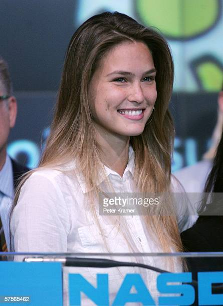 Project Sunshine spokesmodel Bar Refaelii attends the NASDAQ closing bell in Times Square on May 9 2006 in New York City