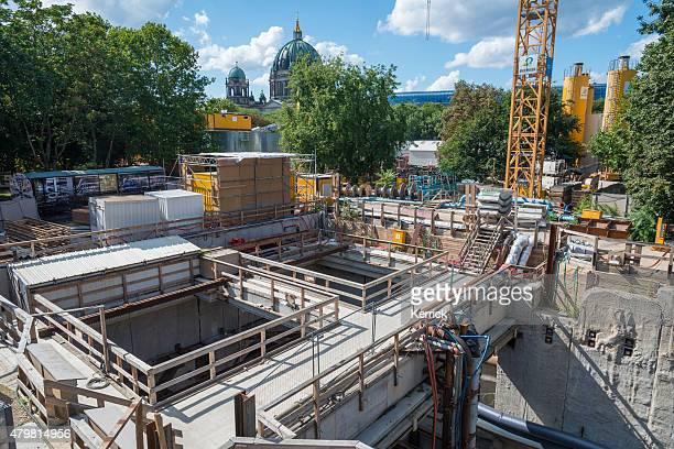 projekt u5-alexanderplatz in berlin u-bahn-building-bereich - u bahn stock-fotos und bilder
