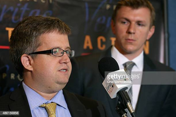 Project Veritas Action lawyer Benjamin Barr speaks during a news conference with conservative undercover journalist James O'Keefe at the National...