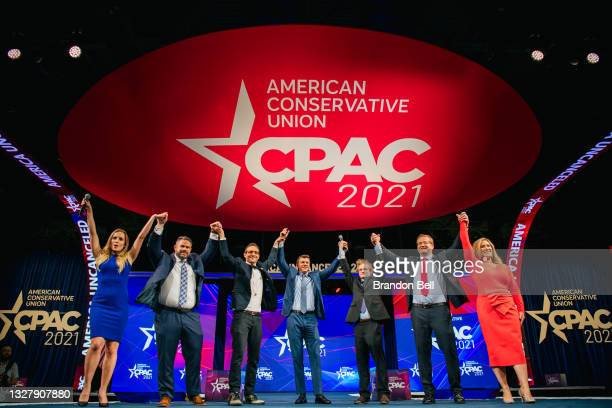 Project Veritas founder James O'Keefe concludes his speech during the Conservative Political Action Conference CPAC held at the Hilton Anatole on...