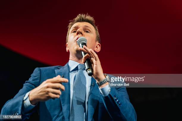 Project Veritas founder James O'Keefe speaks during the Conservative Political Action Conference CPAC held at the Hilton Anatole on July 09, 2021 in...