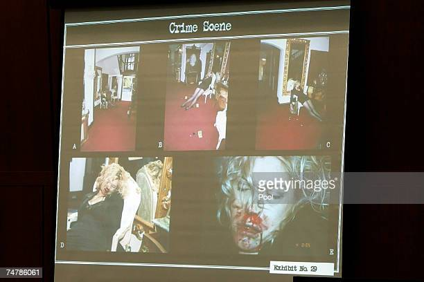 Projected crime scene photos are displayed of Lana Clarkson's body during the murder trial of music producer Phil Spector at the Los Angeles Superior...