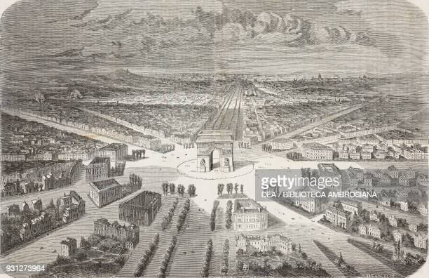Projected plan of constructions in the ChampsElysees the Arc de Triomphe at the center Paris France drawing by Lancelot engraving by Riault...