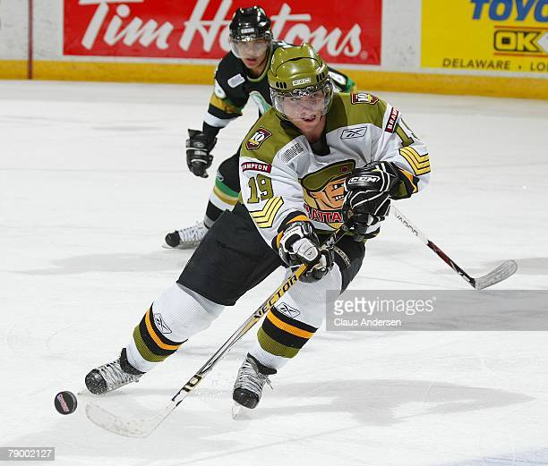 Projected top 10 2008 NHL draft pick Cody Hodgson of the Brampton Battalion flips a shot out in a game against the London Knights on January 11 2008...