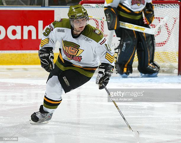 Projected top 10 2008 NHL draft pick Cody Hodgson of the Brampton Battalion skates in a game against the London Knights on January 11 2008 at the...
