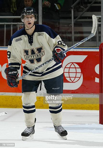 Projected top 10 2008 NHL draft pick Joshua Bailey of the Windsor Spitfires skates in a game against the London Knights on December 28 2007 at the...