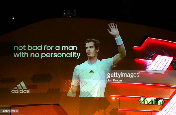 A projection is displayed to congratulate winner Andy Murray during the BBC Sports Personality of the Year Awards at First Direct Arena on December...