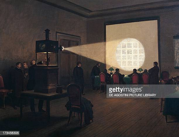 Projection of encoded telegraphic messages at the central telegraph office during the siege of Paris in the FrancoPrussian War by Jules Didier and...