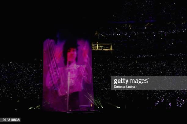 A projection of Prince is shown during the Pepsi Super Bowl LII Halftime Show at US Bank Stadium on February 4 2018 in Minneapolis Minnesota