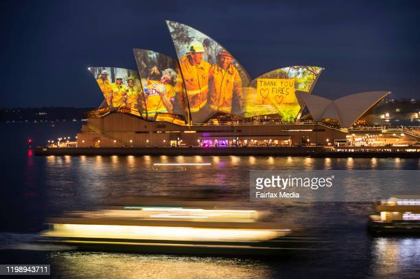 Projection on the Sydney Opera House honours the hard work of firefighters during the current bushfire season on January 11, 2020 in Sydney,...