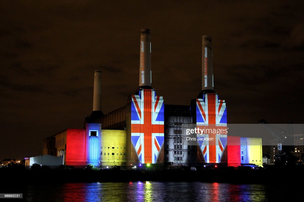A projection promoting Sky HD lights up Battersea Power Station on May 6, 2010 in London, United Kingdom. After 5 weeks of campaigning, including the first ever live televised Leader�s Debates, opinion polls suggest that the UK is facing the prospect of a hung parliament for the first time since 1974.