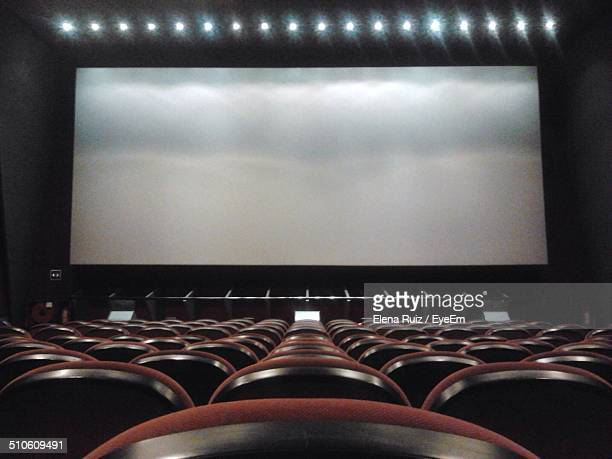 Projection screen in an empty cinema